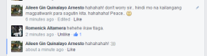 He knows I was just joking.. but jokes are half meant. ♥ Haha! Peace Sir romenick. ♥
